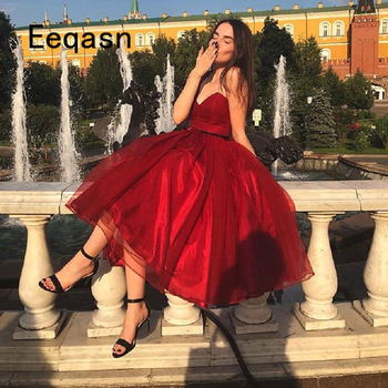 Elegant Knee Length Cocktail Dresses 2020 Burgundy A-line Formal Party Dresse Robe De Cocktail Plus Size Prom Gowns
