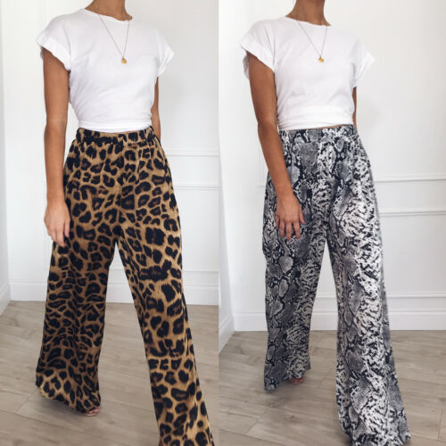Women Leopard Printed Palazzo Wide Leg Pants Long Loose Baggy Casual Pant Workout Summer Snake Trousers Hot