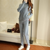 2017 winter women's new 2 piece suit cashmere knit cardigan fashion casual trousers vintage two piece set female