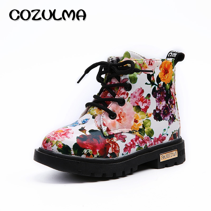 COZULMA Boys Girls Sneakers Elegant Floral Flower Print Shoes Kids Sneakers Boots Toddler Martin Boots Leather Children Sneakers sneakers