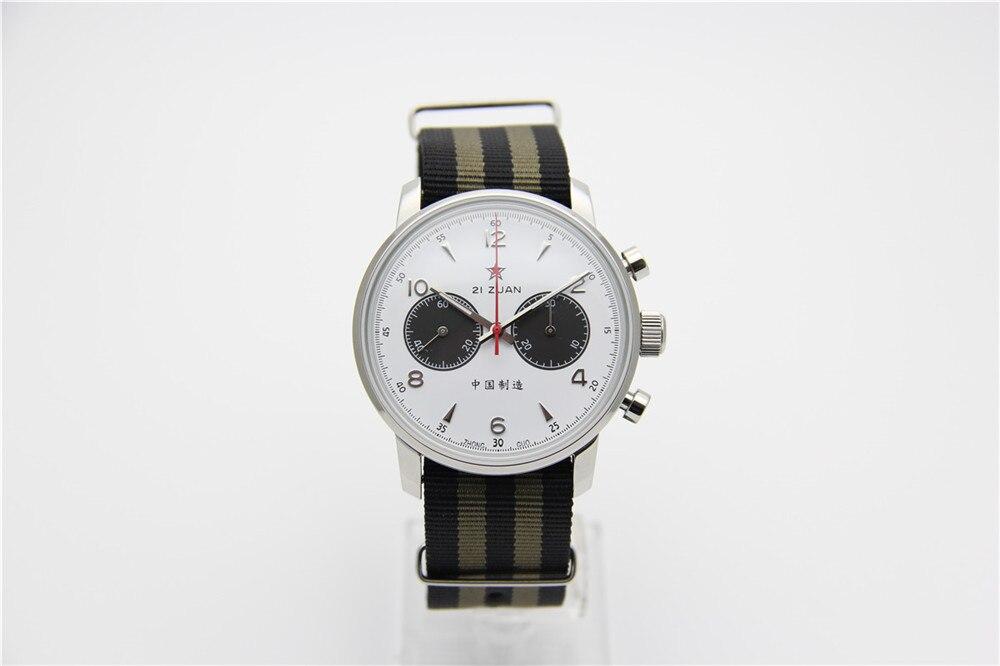 Gaivota Movimento Chronograph Mens relógio de Pulso Mecânico Officiall Reedição 304 St19 1963 Flieger Piloto exibition 42 MM Branco