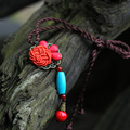 Fashion Ethnic Chinese Knot Coral Beads Turquoise Pendant Necklace Vintage Agate Natural Stone Long Necklaces For Women Jewelry