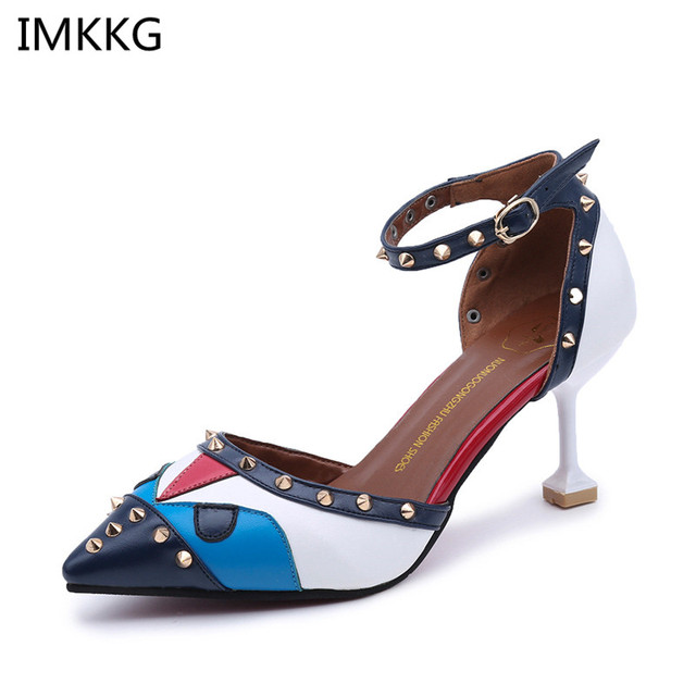 Phụ nữ MỚI Cao gót giày Nữ Sexy Toe Nhọn nữ bơm hỗn hợp màu đinh tán Khóa hight gót giày a628