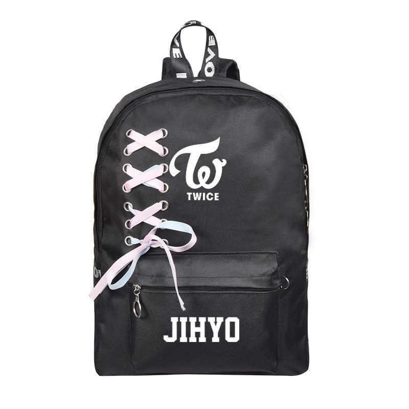 Tweemaal Momo Mina Sana Tzuyu Rugzak Schooltassen Hetzelfde Schouder Koreaanse Versie Leuke Canvas Schooltassen Kpop Groothandel K-pop
