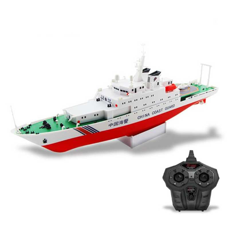 Free shipping China Coast Guard Ship 2.4G Electric Remote Control Ship Model Navy Battle Ship Dual Propellers DIY boat toy gift