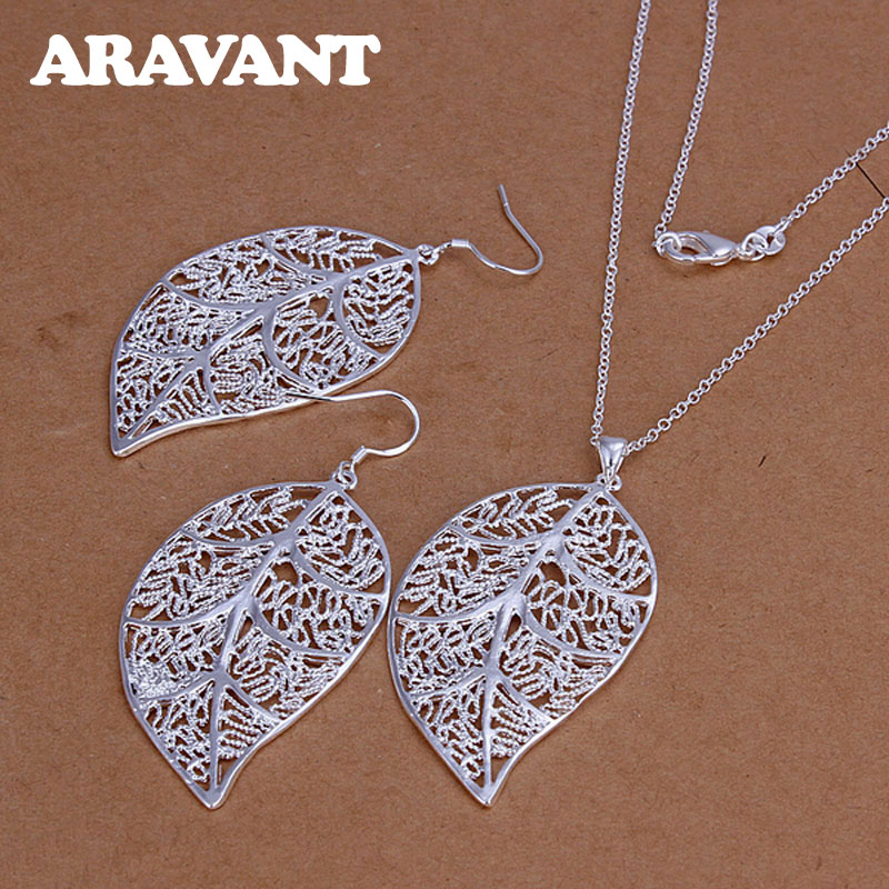 Böhmen Schmuck Set 925 Silber Schmuck Blätter Halskette Tropfen Ohrring Für Frauen Partei Schmuck Geschenke