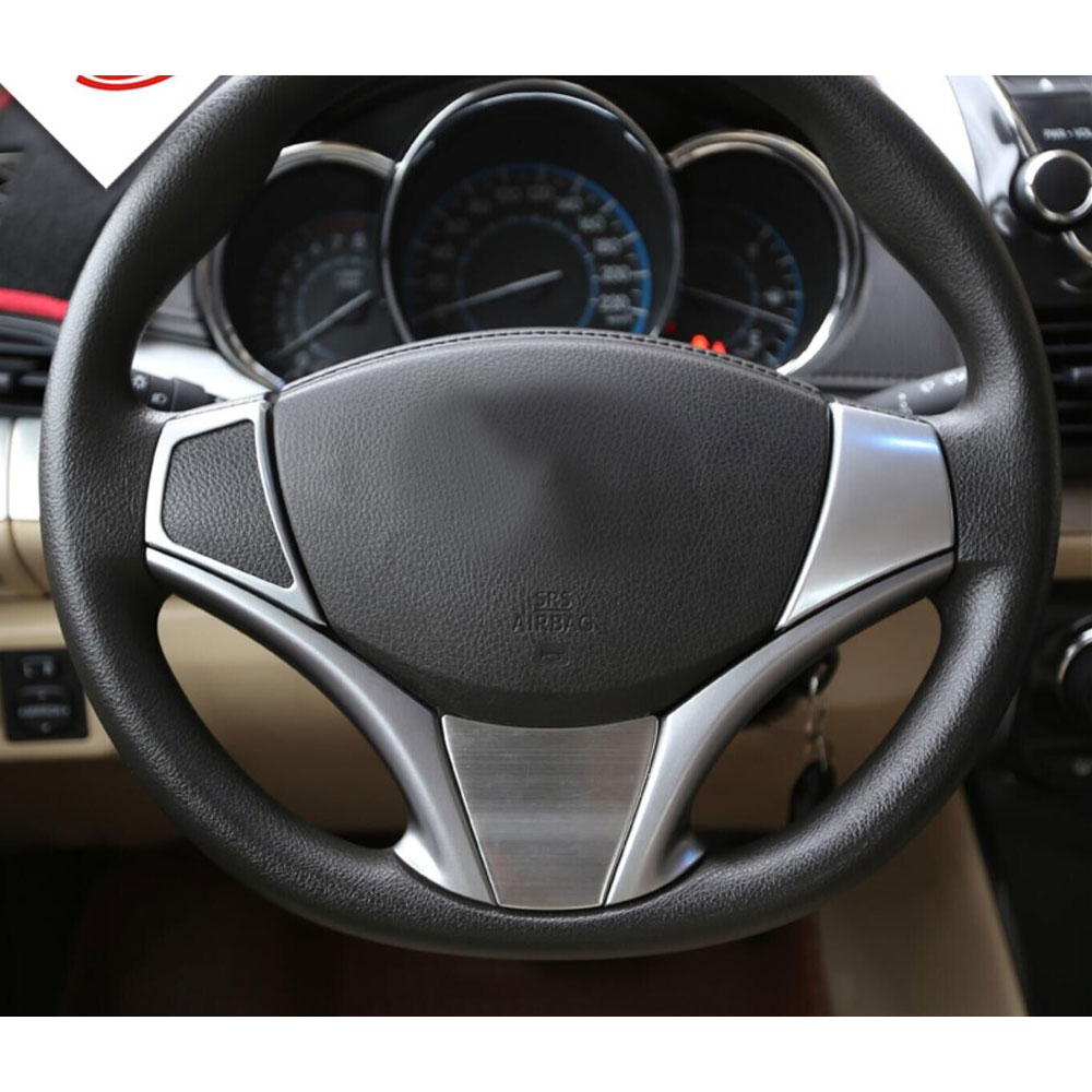 2pcs Abs Car Interior Steering Wheel Cover Trim Frame Decoration Fit