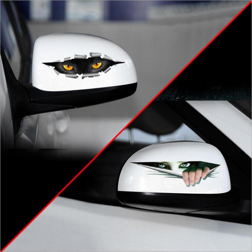 Honda fit car sticker design - Car Styling Cat Eye Ghosts Peeping 3d Car Rearview Mirror Sticker Decal For Vw Skoda