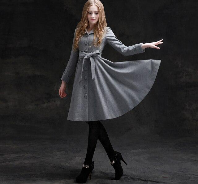 a8ea5b40526fe 10- winter women vintage 50s Audrey Hepburn gray wool woolen long swing  coat coats plus size jacket abrigos de mujer elegantes