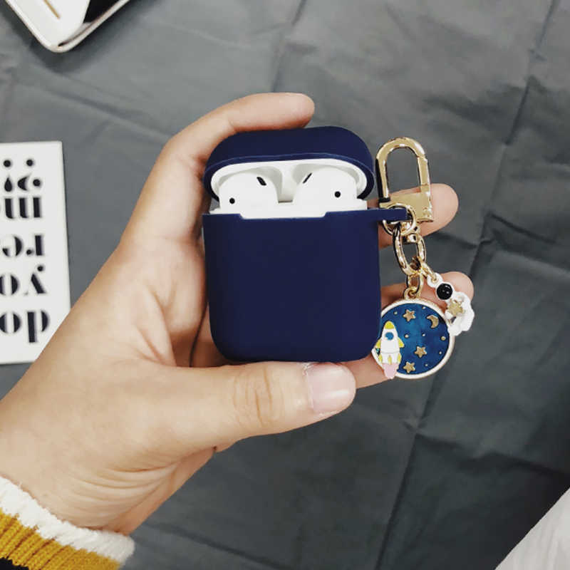 Classic Astronaut Decorative Silicone Case for Apple Airpods Bluetooth Earphone Accessories  Protective Cover Key Ring