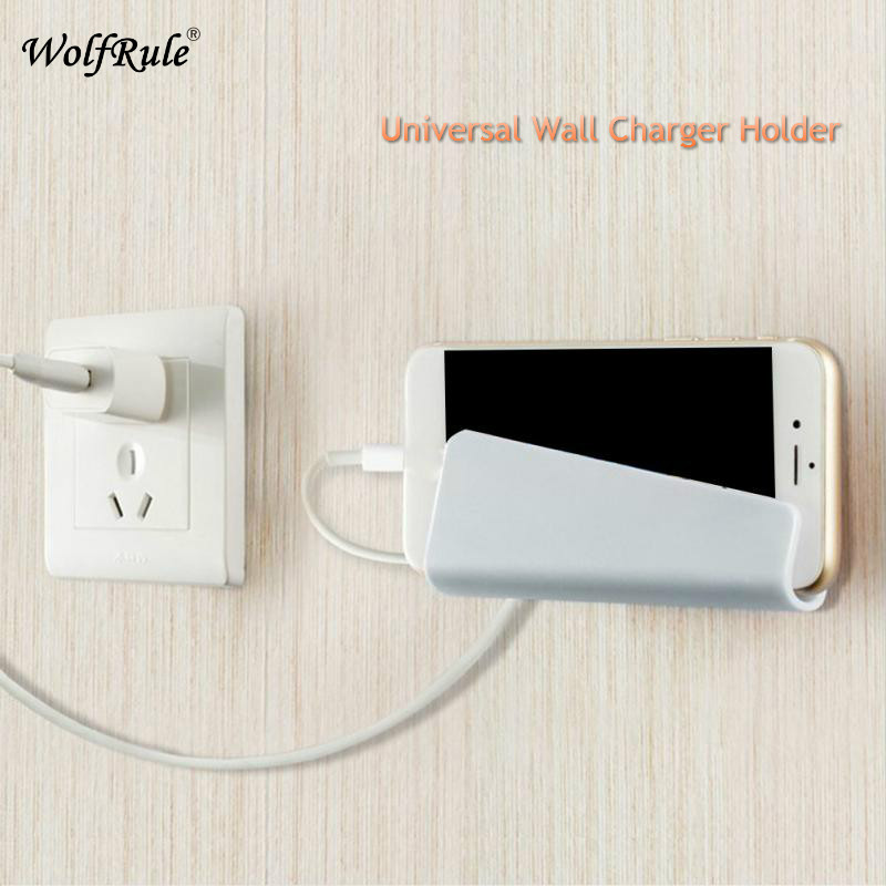 Universal Wall Charger Holder Shockproof Fixing Bracket For Samsung Xiaomi Bracket Mount Stand Phone Charging Holder For IPhone