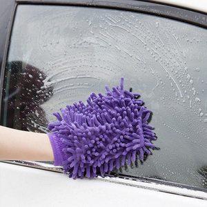 Image 5 - 1pc Auto Wassen Handschoenen Wateropname Handdoek Microfiber spons Handdoek Coral Chenille Zachte Auto Schoonmaken Tool