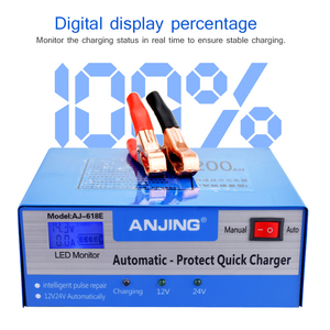 Image 1 - ANJING AJ 618E דופק תיקון סוללה מטען 130 V 250 V 200AH 12V 24V מלא אוטומטית סוללה מטען אופנוע רכב מהיר טעינה