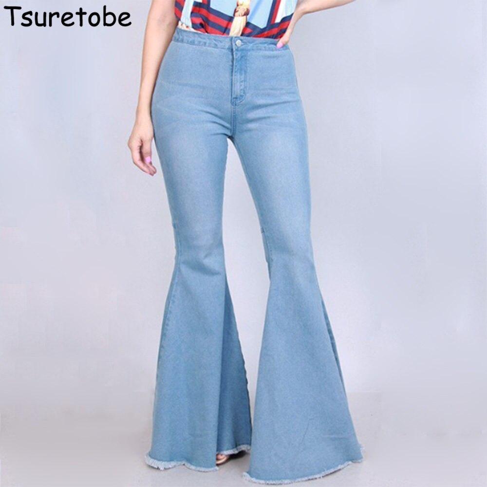 Tsuretobe Fashion Flare Denim   Pants   Women Bodycon Casual   Wide     Leg     Pants   Female Pure Color Casual Elegant   Pants   Vestidos Slim