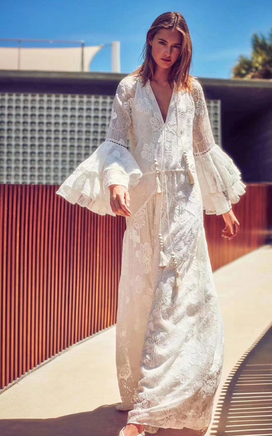 Celebrity Fashion Show Holiday dress V-neck Flare Sleeve Embroidery Lace Lace-Up Backless Sexy Women Body Con Dresses Wholesale