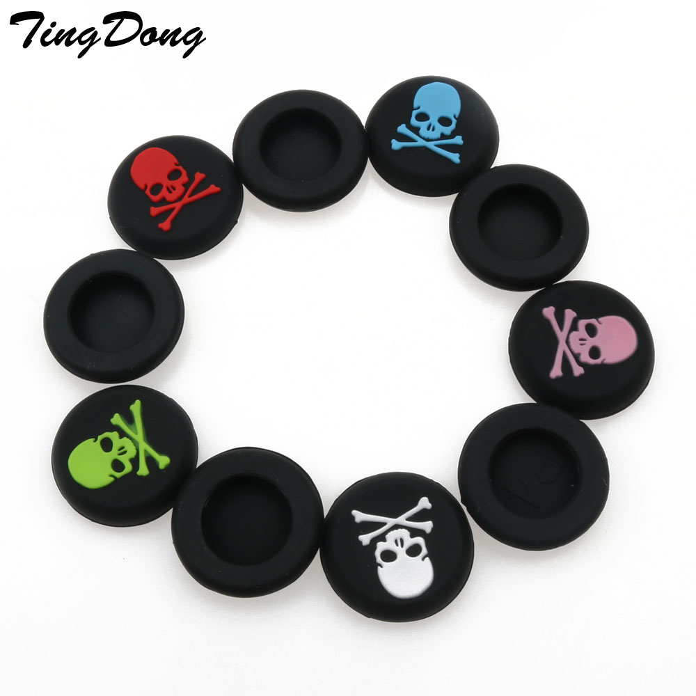 TingDong 4 pcs for Dualshock 4 PS4 Pro Slim Controller Skulls Rubber Silicone Analog Thumb Stick Grips Caps For PS3 For Xbox 360