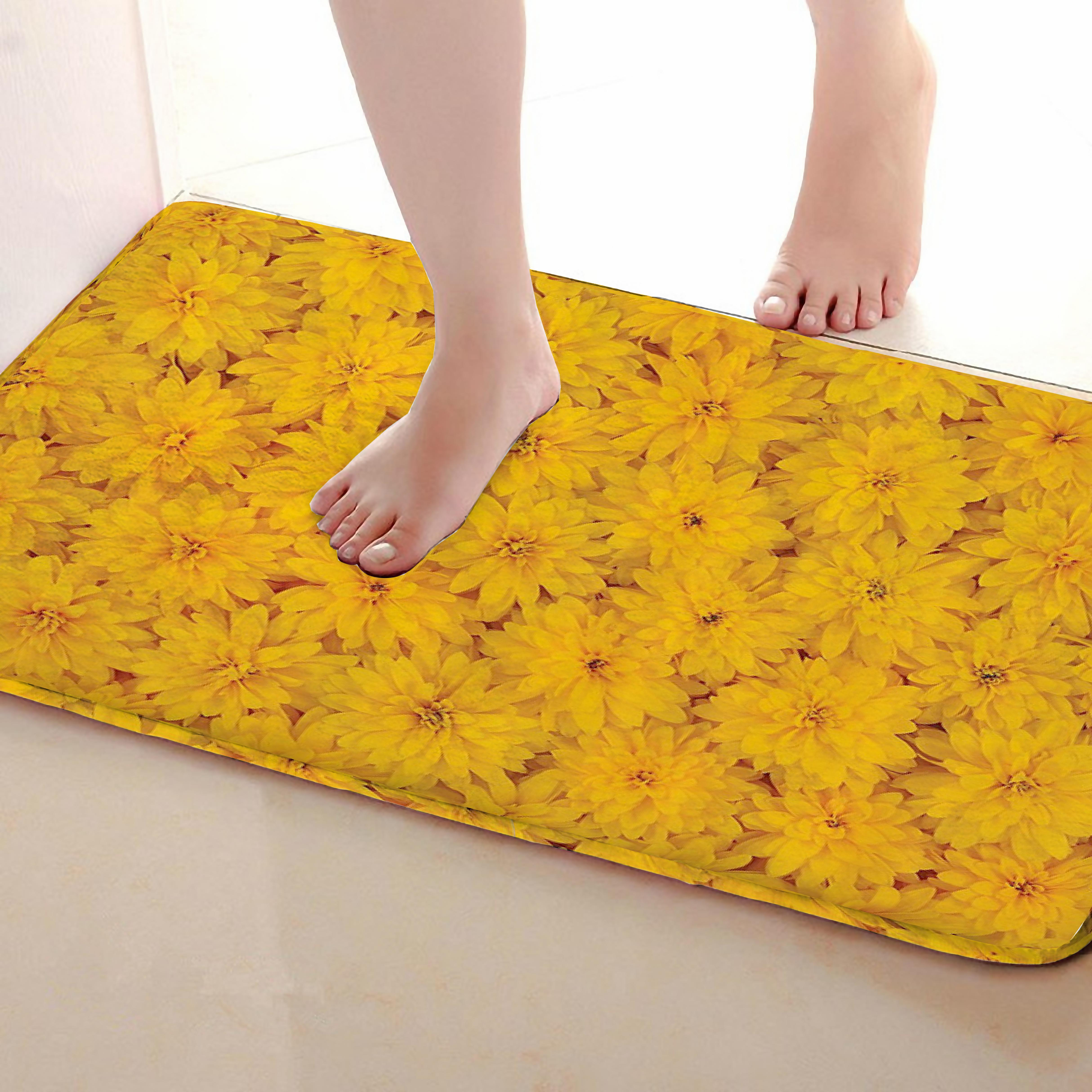 Flower Style Bathroom Mat,Funny Anti Skid Bath Mat,Shower Curtains Accessories,Matching Your Shower Curtain
