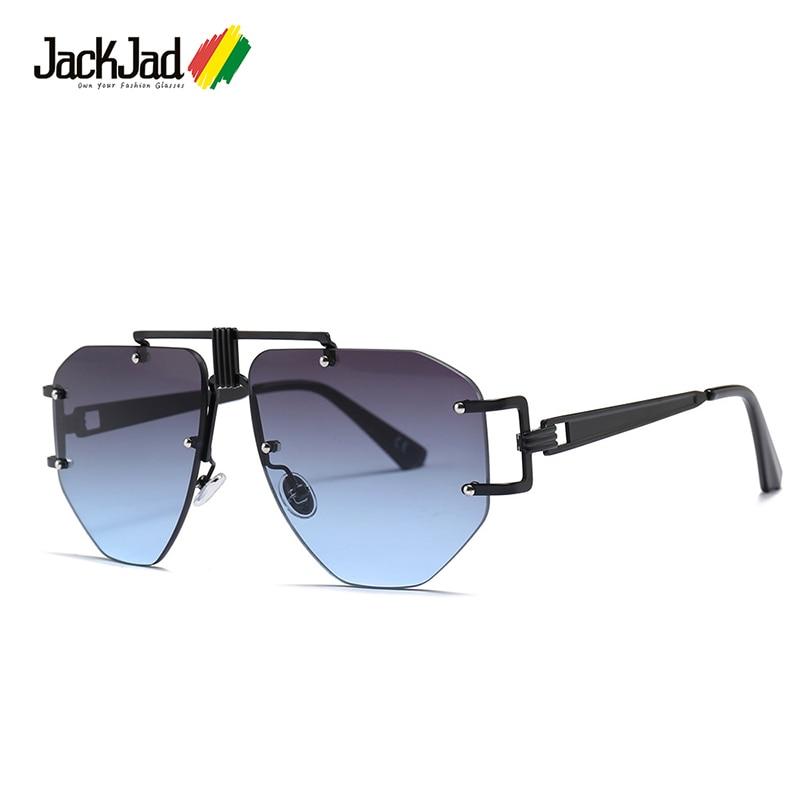 JackJad Fashion Cool Unique Mechanical SteamPunk Style Sunglasses Rimless Gradient Brand Design Sun Glasses Oculos De Sol 23010