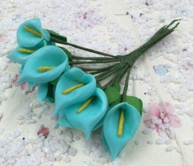 12 шт. мини пена Калла ручной работы искусственный цветок свадебное оформление букета DIY ВЕНОК Подарочная коробка Скрапбукинг Ремесло поддельные цветы - Цвет: Lake Blue
