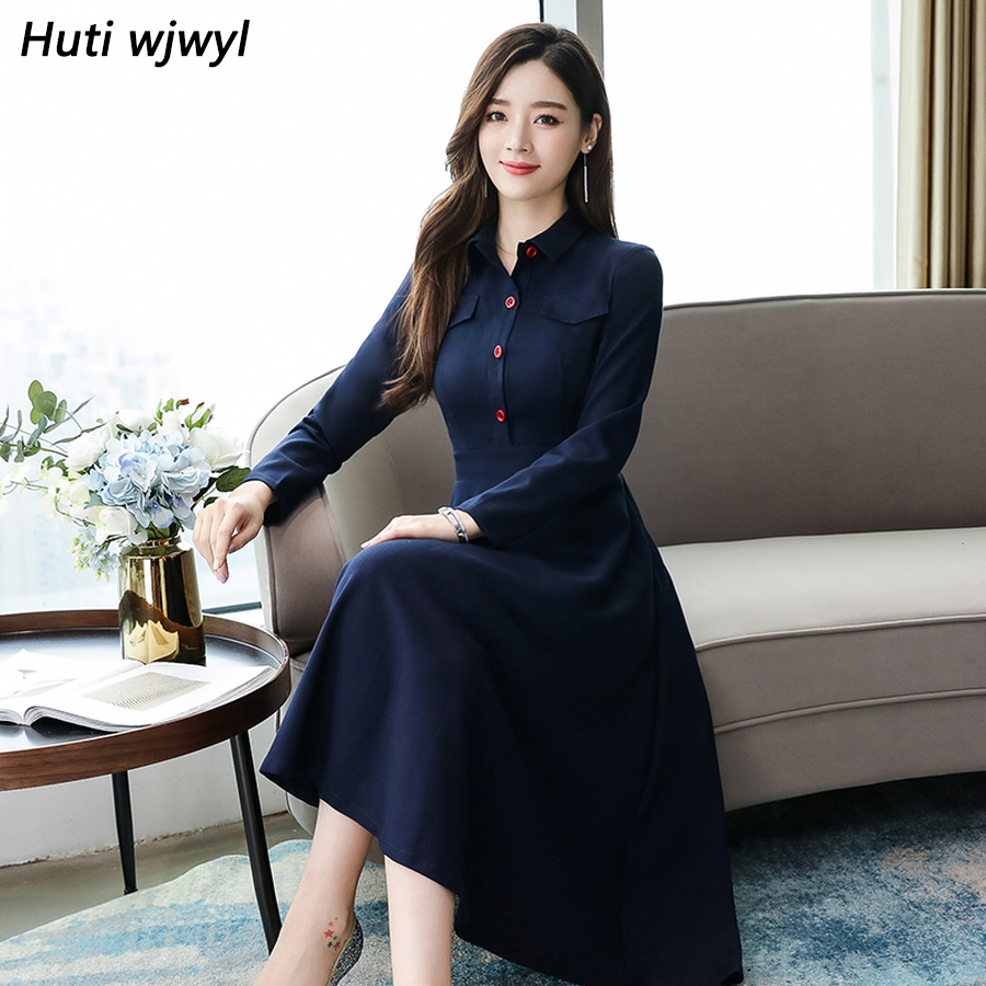2019 Vintage Spring Blue Chic Long Sleeve Midi Dresses Autumn Winter Plus Size Solid Dress Elegant Women Bodycon Party Vestidos