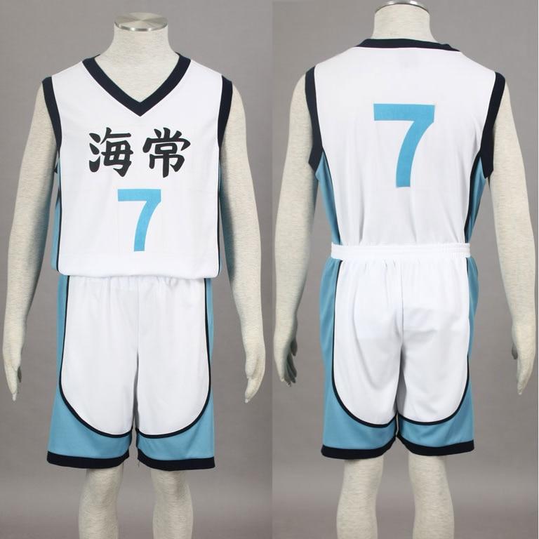 Kuroko no Basuke Basket KAIJO white school basketball suit mens uniforms boys sport clothes No.7 Kise Ryota cosplay costume