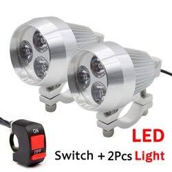 2 PCS de Alumínio LED Spot Light Farol Da Motocicleta Farol Luz Do Dia Moto Local De Condução Nevoeiro Cabeça de Luz Da Lâmpada com Interruptor