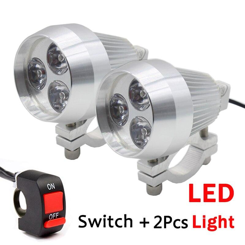 2PCS Aluminum LED Motorcycle Headlight Daylight Spot Light HeadLamp Moto Driving Spot Fog Light Head Lamp with Switch