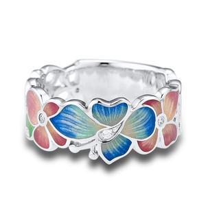 Image 3 - SANTUZZA gümüş yüzük kadınlar için 925 ayar gümüş moda çiçek yüzük kadınlar için kübik zirkonya Ringen parti takı emaye