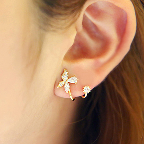 2017 new arrival hot sell fashion butterfly 925 sterling silver ladies`stud earrings jewelry gift wholesale anti-allergic women