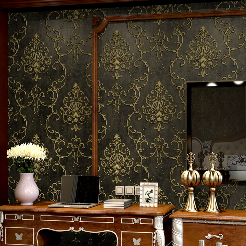 European Style Luxury Black Damask Wallpaper 3D Bedroom Living Room TV Background Wall Decor Non-woven Relief Wall Paper Roll