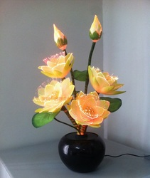 Светодиодный светильник с цветком лотоса, новинка лампа Будды, художественный цветок из оптического волокна
