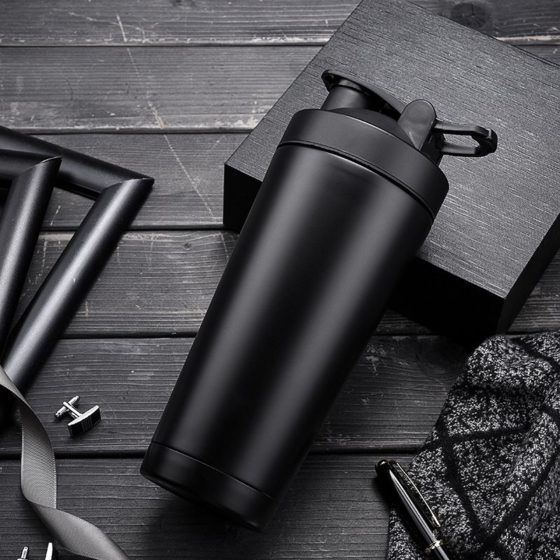 Quality Protein Shaker Bottle Stainless Steel Sports Water Bottle Shaker Cup with Mixing Ball Vitamin Supplements Mixer BPA Free image