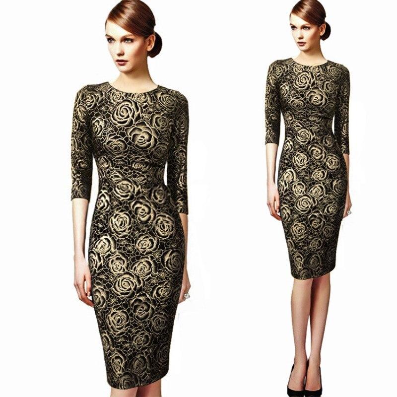8af91bb8b6e Splicing Gold Dresses Knee Length Half Sleeve Women Stretch Dress Floral  Fashion Pencil Elegant Evening Party Dresses Vestidos-in Dresses from  Women's ...
