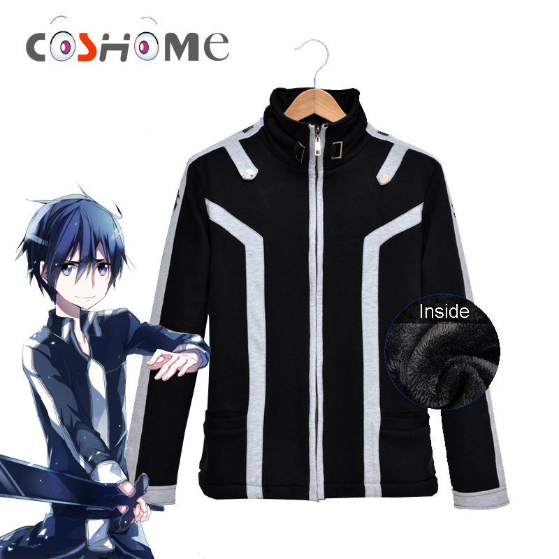 Coshome Anime Sword Art Online Kirito Hoodies Cosplay Costumes Men Black Jacket Thick Coat For Halloween Party