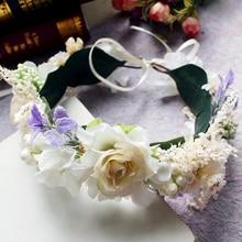 Womens Flower Wreath Crown Lady Girls Festival Wedding Party Headband Garlands Ribbon Hairband Decoration