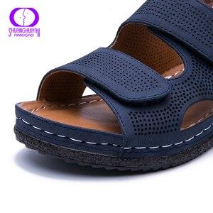 Image 5 - AIMEIGAO בתוספת גודל מזדמן נשים סנדלי נעלי דירות נוחות עקבים נעליים לנשימה חיצוני נמוך העקב נוחות נעלי 2019 חדש