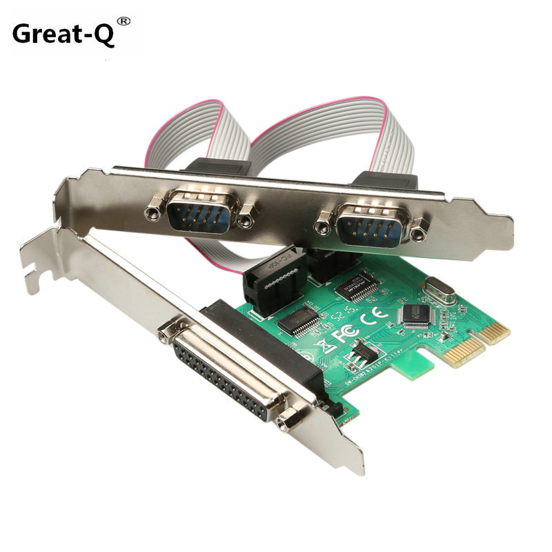 Grand-Q 2 RS232 RS-232 Port Série COM & DB25 Parallel Printer Port LPT pour PCI-E PCI Express Card adaptateur Convertisseur WCH382L