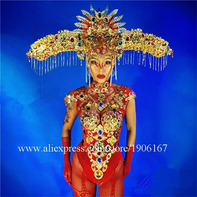 Ano novo Chinês Vermelho Estilo headwear dj desempenho cantora bodysuit macacão roupas de festa vestido de baile trajes de dança ds sexy terno