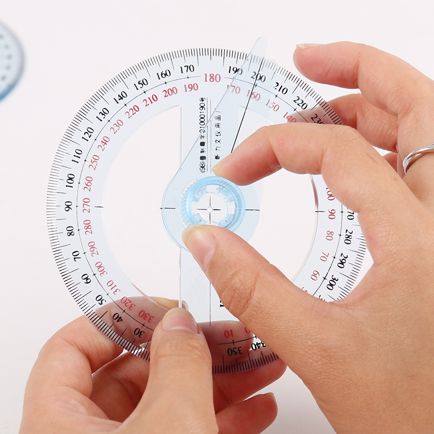 1PC New Transparent Plastic 360 Degree Diameter 10cm Protractor Ruler Angle Finder For Office Gift Protractors