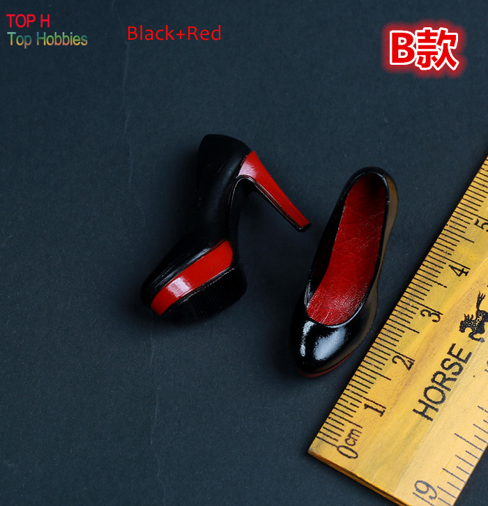 Red With black High heel Shoes For 1 6 Scale Female 12 Action Figure 1 6