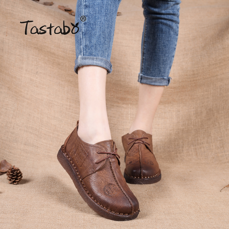 Tastabo Genuine Leather Flat Shoe Pregnant Women Shoe Mother Driving Shoe Female Moccasins Women Flats Hand-Sewing Shoes цена