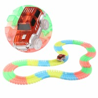 LED Light Up Cars With 165pcs Track Glow Race Kids DIY Track Car Toys With Flash
