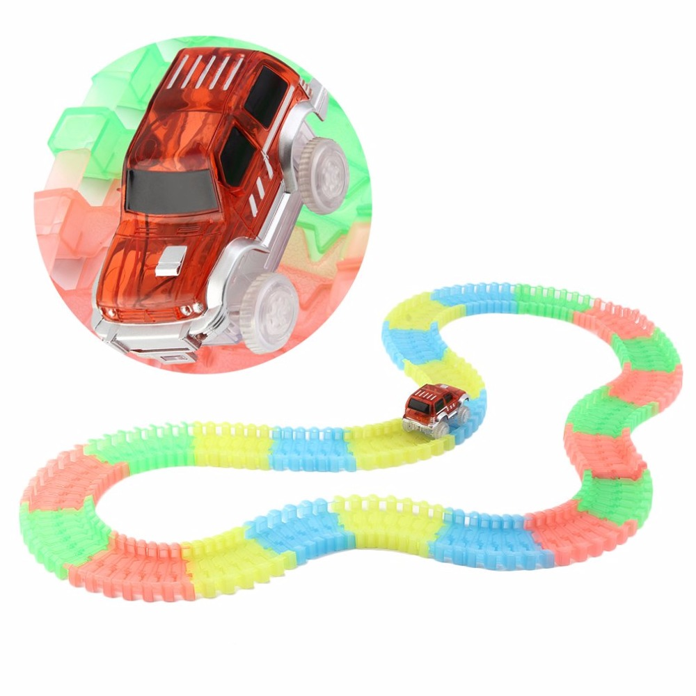LED light up Cars With 165pcs Track Glow Race Kids DIY Track Car Toys With Flash Lights Cars Toys For Children Brinquedos