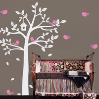 POOMOO, Huge White Tree And Cute Birds Decals Baby Nursery Bedroom Wall Art Decor Fashion Home Decorative Design Sticker Mural