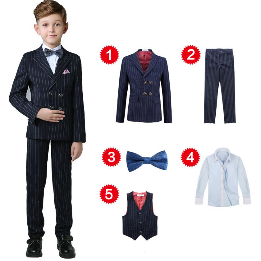 все цены на Boys Striped Blazer Wedding Suits Brand Kids 5PCS Formal Suits with Bow Boy's Party Tuxedos Costume Double Breasted Suit S84013A