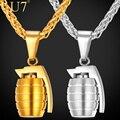 U7 encantos de aço inoxidável homens moda jóias pingente de granadas de mão na moda do partido amarelo colar banhado a ouro cadeia chic p750