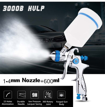 1.4mm Nozzle 600cc Professional Low Pressure Gravity Feed Paint Spray Gun Airbrush Car Finishing Coat Painting Spraying Tool sat1205 high quality dual nozzle spray gun pneumatic paint sprayer high pressure professional spray car painting airbrush tools
