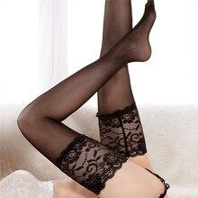 Сексуальные кружевные нейлоновые чулки, женские, широкие, прозрачные, до бедра, высокие чулки, сексуальные, выше колена, эротические колготки, чулочно-носочные изделия