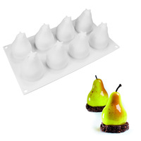 3D Silicone 8 Holes Pear Shape Cake Mold For DIY Mousse Chocolate Ice Cream Soap Dessert