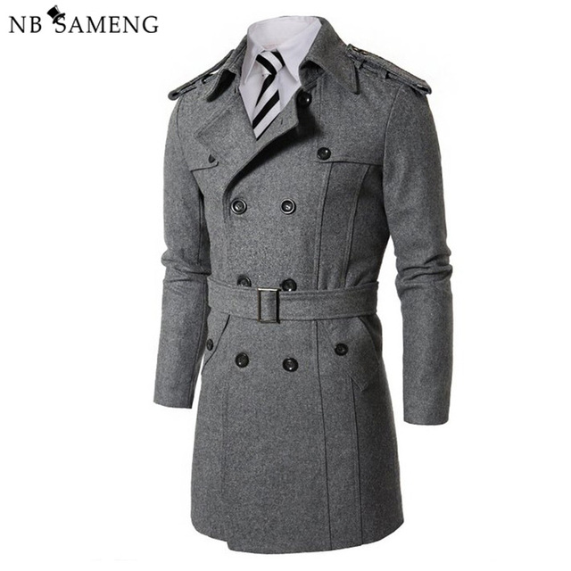 New Fashion 2017 British Style Solid Worsted Trench Long Coat Men Winter Casual Overcoat Cappotto Long Worsted Jacket 13M0394